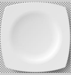 Empty white porcelain plate square dishware vector