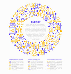 Energy concept in circle with thin line icons vector