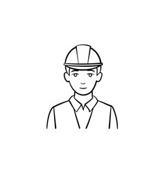 Engineer in hard hat hand drawn sketch icon vector