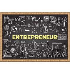 Entrepreneur on chalkboard vector image