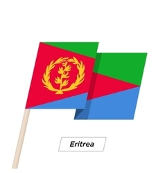 Eritrea Ribbon Waving Flag Isolated on White vector image