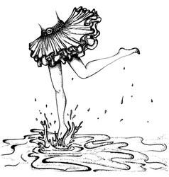 Female feet puddles vector