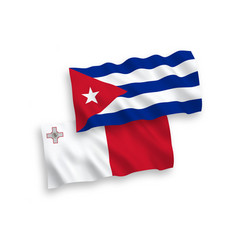 Flags malta and cuba on a white background vector