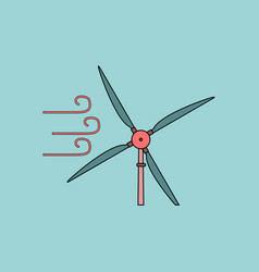 Flat icon design collection wind turbine vector