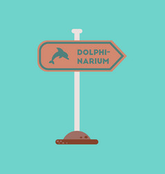 Flat icon on background dolphinarium sign vector