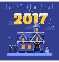 Flat style of night winter holiday house vector