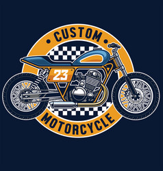 flat tracker motorcycle badge vector image