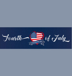 fourth july usa heart ribbon vector image