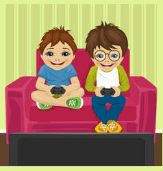 Friends playing video game at home sitting on sofa vector