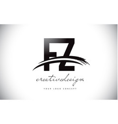 Fz f z letter logo design with swoosh and black vector