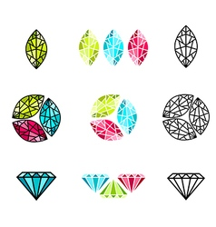 Gemstone logo design set vector