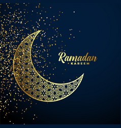 golden decorative moon with glitter ramadan vector image