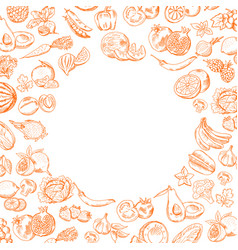 Handdrawn doodle fruits and vegetables set vector