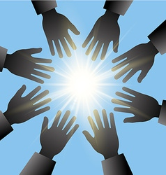 hands reaching in sun with blue sky vector image