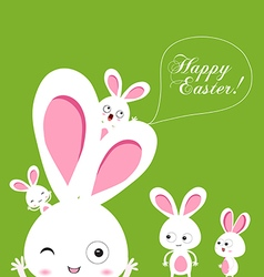 Happy easter rabbit and eggs background vector