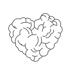 Heart shaped brain icon vector