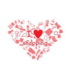 i love shopping product heart frame background vec vector image