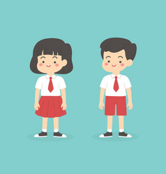 indonesian elementary school uniform kids cartoon vector image