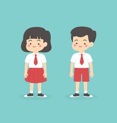 Indonesian elementary school uniform kids cartoon vector