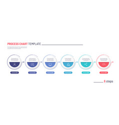 infographic process chart template six vector image