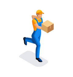 Isometric man in uniform is running delivering an vector
