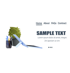 laptop office supplies and potted plant isolated vector image