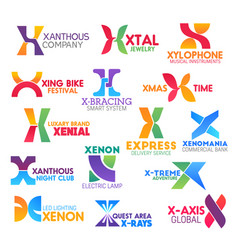 letter x icons or symbols with business name sign vector image