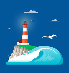 Lighthouse in flat style vector