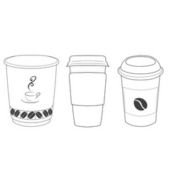 linear silhouettes of cups of coffee in thin lines vector image