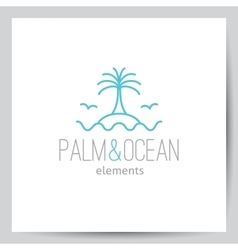 Logo with palm seagulls island and waves vector