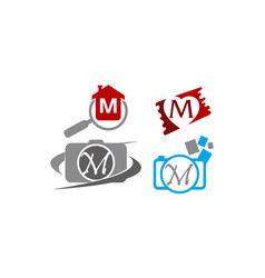 logotype m modern template set vector image