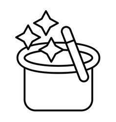 Magician s hat with a magic wand thin line icon vector