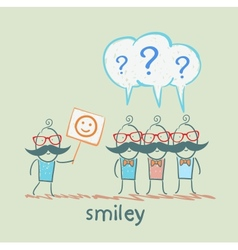 man shows a poster with a cheerful smiley others vector image
