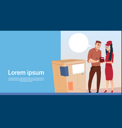 man sign document courier woman box delivery vector image