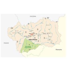 Map italian region aosta valley vector