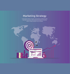 marketing strategy spreadsheet on screen business vector image