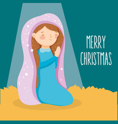 Mary praying manger nativity merry christmas vector