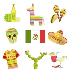 Mexican National Symbols Set vector