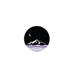 midnight scene mountain sign symbol vector image
