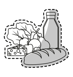 Milk vegetables fruits and bread design vector