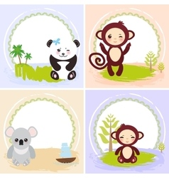 monkey panda koala bears set of cards design vector image