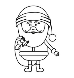 Monochrome contour of santa claus with gift bag vector