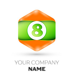 Number eight logo in the colorful hexagonal vector