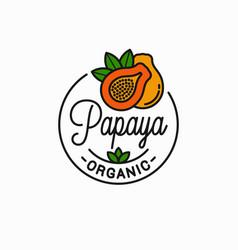 papaya fruit logo round linear papaya slice vector image