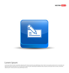 Paper note and pen icon - 3d blue button vector