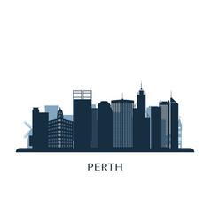 perth skyline monochrome silhouette vector image