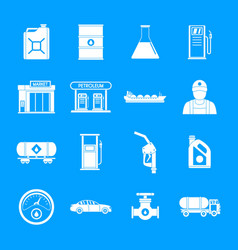 petrol station gas fuel icons set simple style vector image