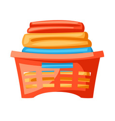Plastic basket with clothes vector