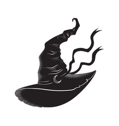 Pointy witch hat with crescent moon hand drawn vector