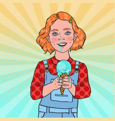 Pop art little girl eating tasty ice cream vector